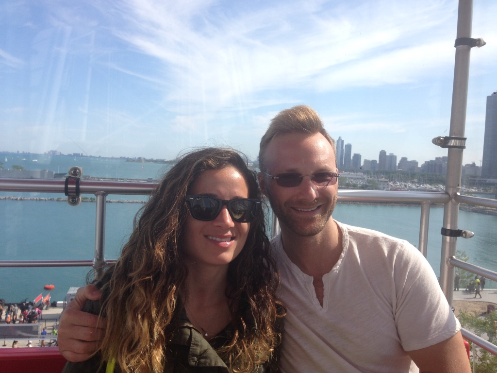Dan and Emille in Chicago on the Ferris wheel at the Navy Pier.