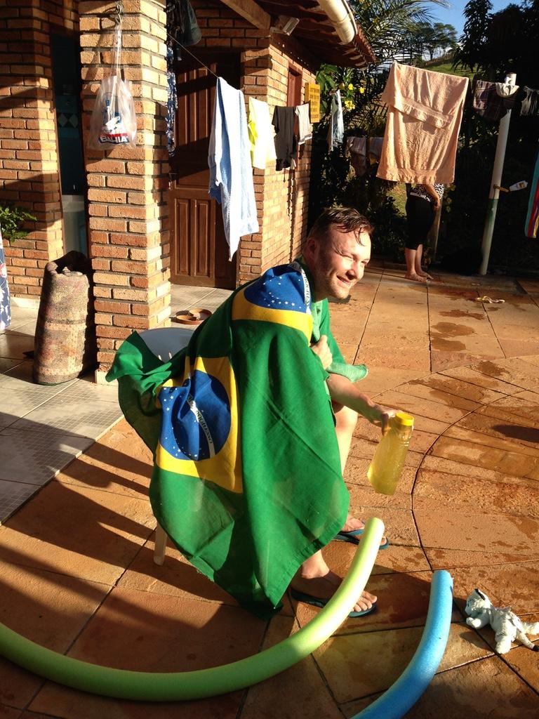 Dan by Nilza's Pool in Itanhem, Brazil