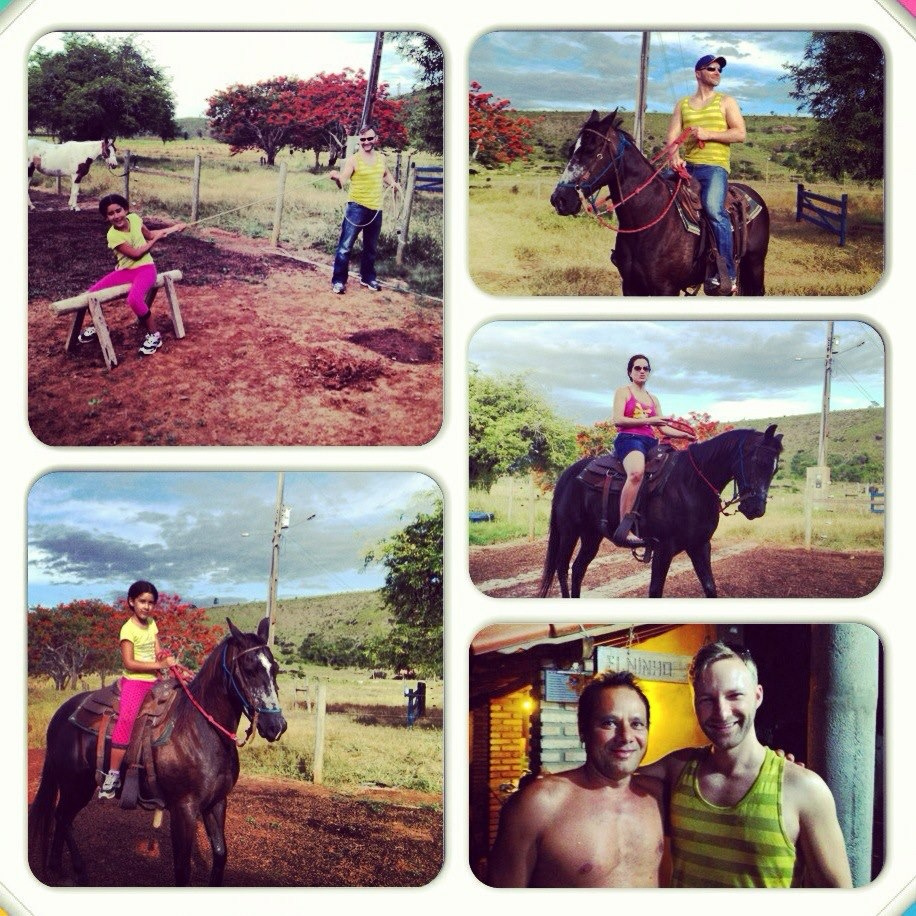 Collage of horseback riding images in Itaheim, Brazil