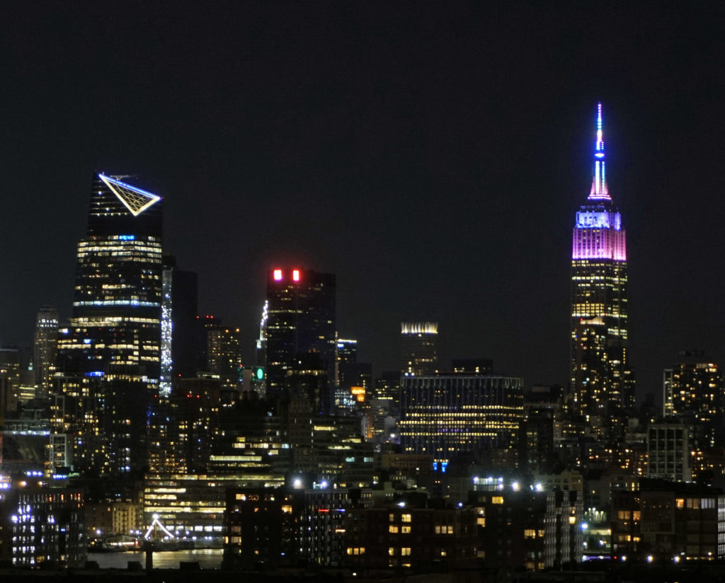 NYC skyline at night from NJ