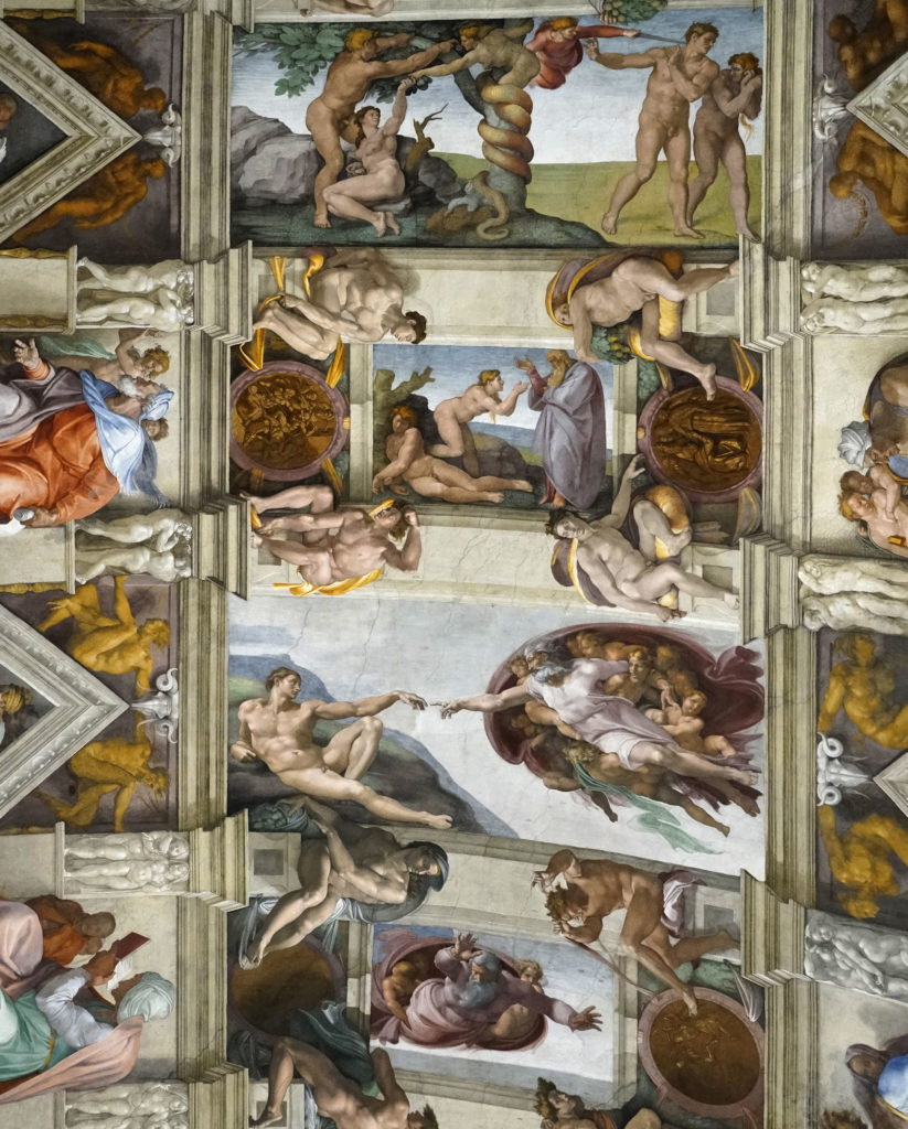 The Sistine Chapel ceiling and The Last Judgment by Michelangelo