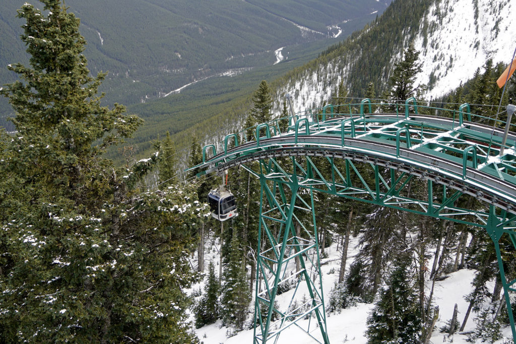 Sulphur Mountain gondola in Banff National Park in the Canadian Rocky Mountains