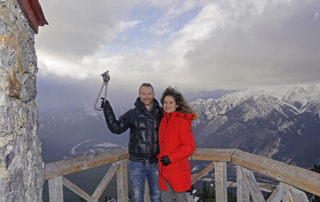 Dan and Emille enjoying the view at the end of the Sulphur Mountain boardwalk with the Subway Handle