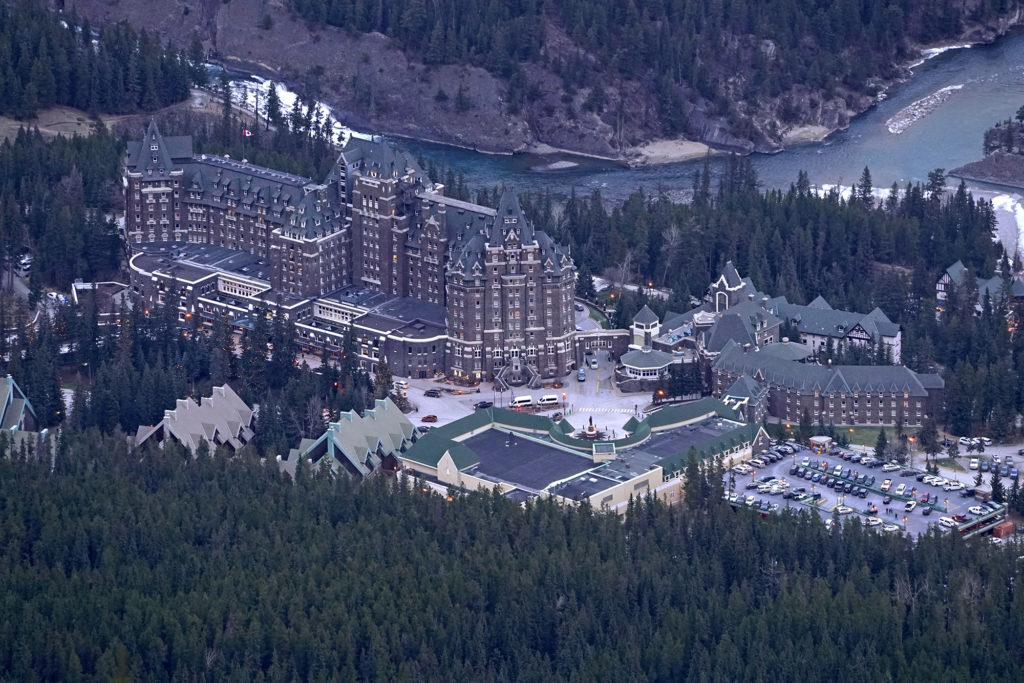 Banff Springs Hotel from the top of Sulfur Mountain with the new 70–200mm lens
