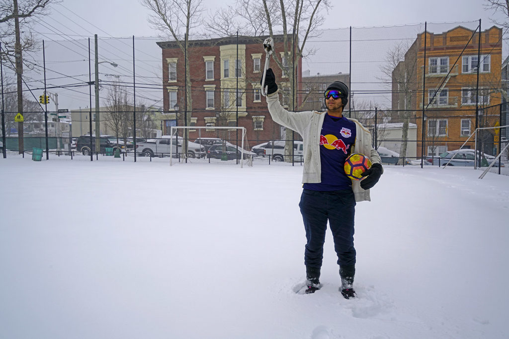 Moses sports the Subway Handle on a snow covered pitch in New Jersey. Futbol anyone?
