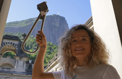 Emille with the Subway Handle in Rio de Janeiro photo