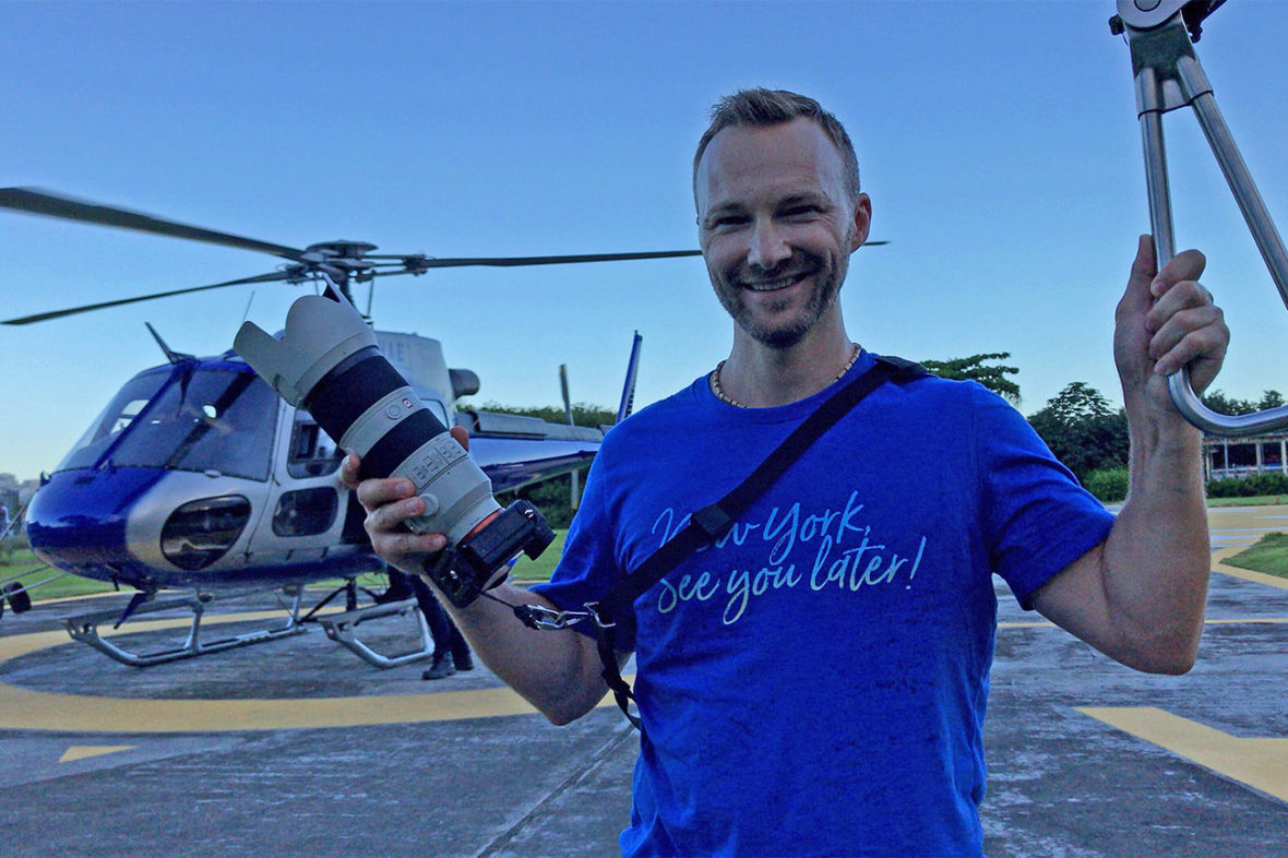 Dan with NY See You Later celebrating a successful helicopter photography session with the NYC Subway Handle in Rio de Janeiro, Brazil, with the Sony a7rii and 70-200 mm f/2.8 lens