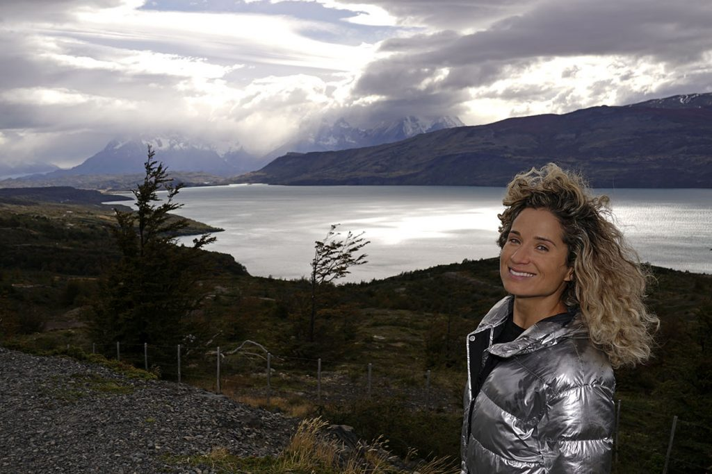 Emille from NY See You Later admiring the Torres del Paine landscape