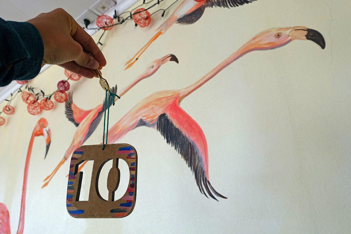 Flamingo mural at the Glacier Perito Moreno Hostel in El Calafate, Argentina