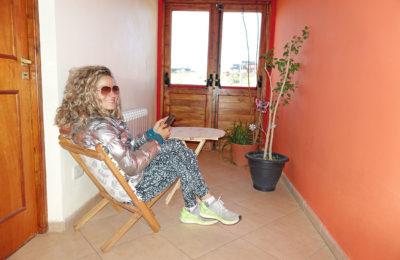 Emille relaxing at the Glacier Perito Moreno Hostel in El Calafate, Argentina