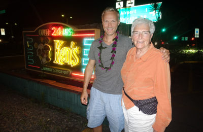 Dan and Aunt Fritzi by Ken's on The Big Island of Hawaii