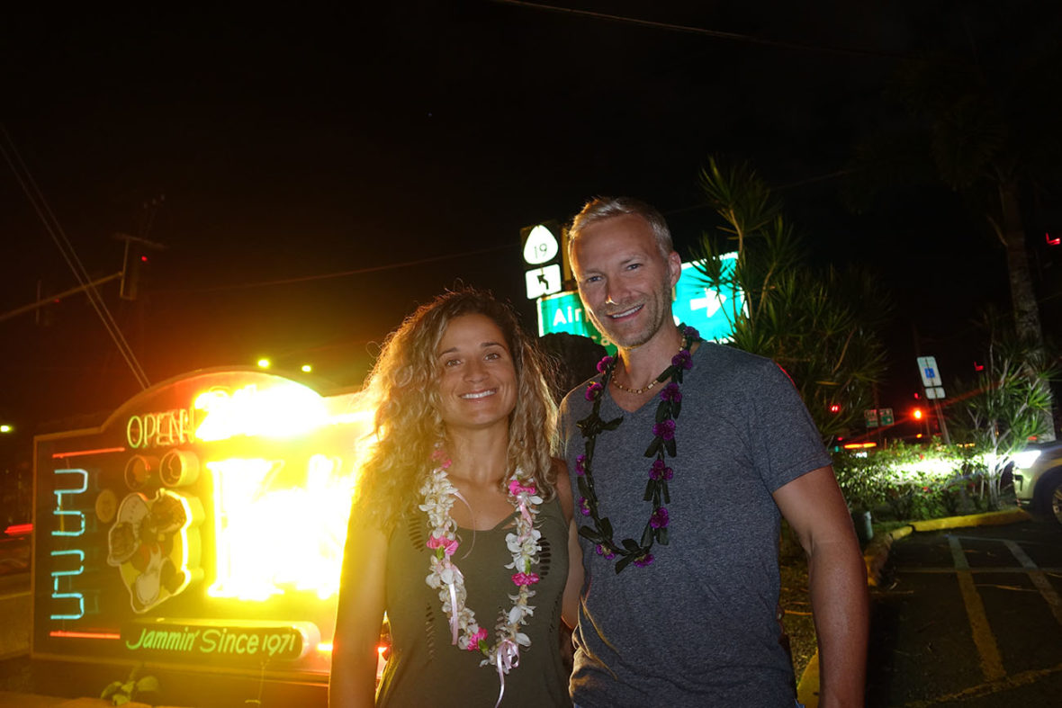 Emille and Dan by the Ken's sign on The Big Island of Hawaii