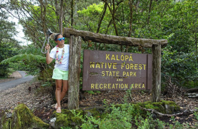 Emille holding the Subway Handle by the Kalopa Native Forest State Park on The Big Island of Hawaii
