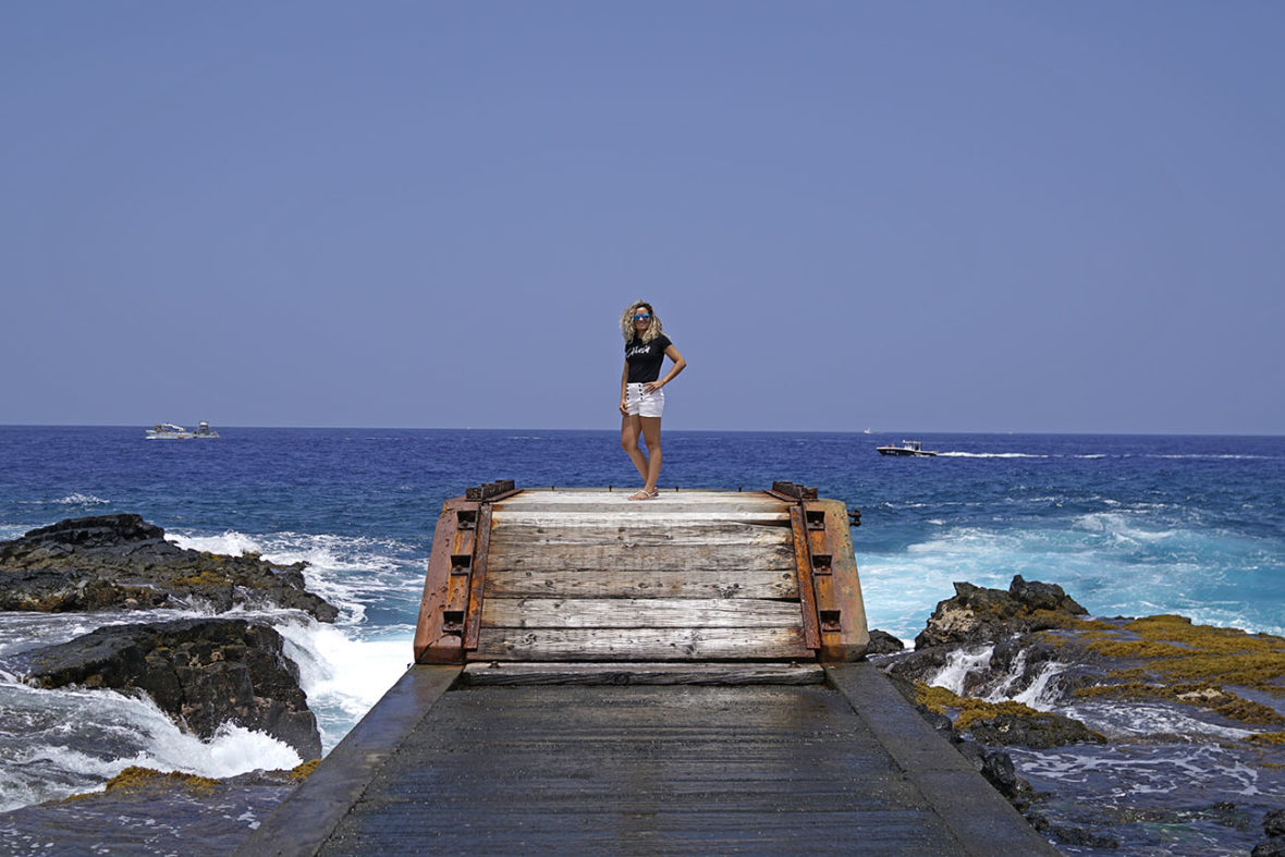Emille on a pier at Kona, on The Big Island of Hawaii