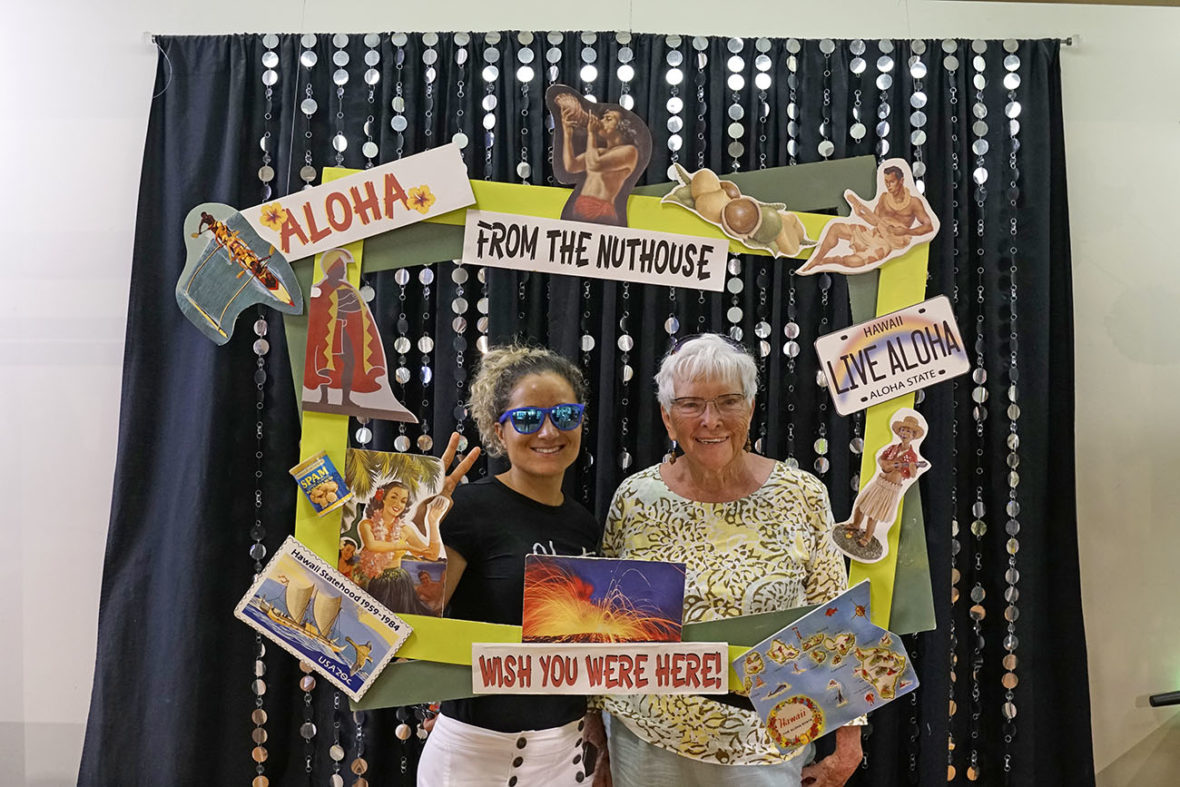 Emille and Aunt Fritzi at the Mauna Kea macadamia nut factory in Kona on The Big Island of Hawaii