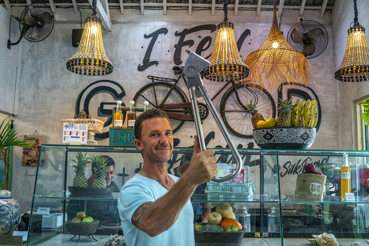 Matty holding the Subway Handle in Silk Road Whole Foods in Canggu, Bali, Indonesia by NY See You Later
