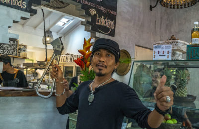 Aesp holding the Subway Handle in Silk Road Whole Foods in Canggu, Bali, Indonesia by NY See You Later
