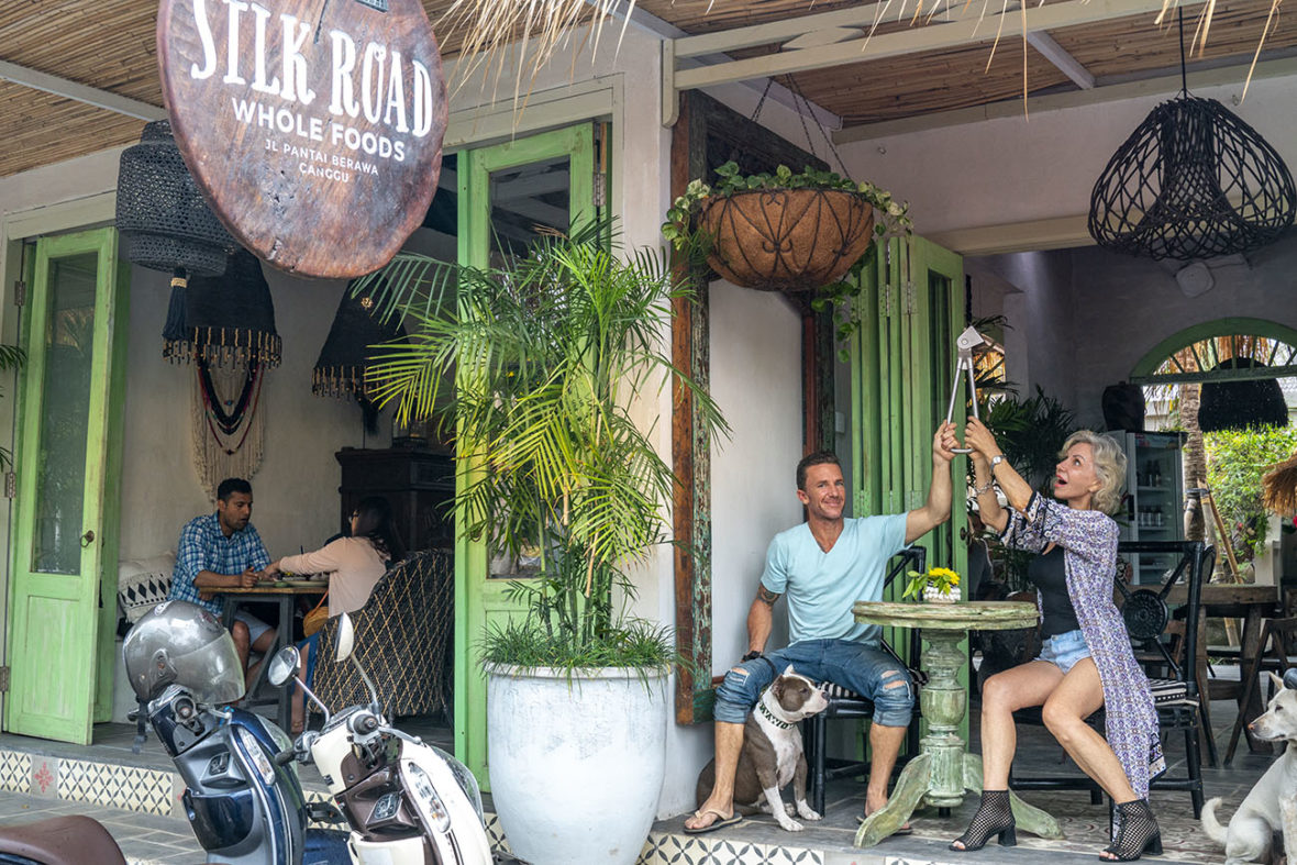 Matty and Fiona holding the Subway Handle in Silk Road Whole Foods in Canggu, Bali, Indonesia by NY See You Later