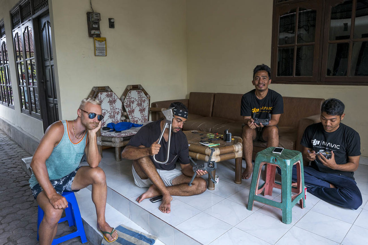 Dan and Ali waiting for their DJI Mavic Pro drone diagnoses at Balicopter
