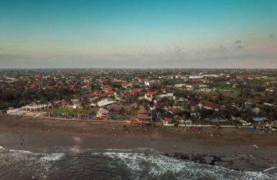 Drone photo of Canggu, Bali, Indonesia