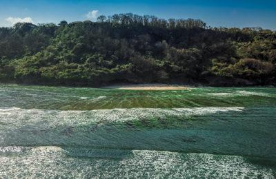 Drone shot of Greenbowl Beach in Bali, Indonesia