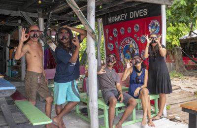 Photo of a Monkey Diver holding the Subway Handle in the Perhentian Islands, Malaysia. We went diving at D'Lagoon, Sail Rock, Stingray Alley, T3, Terembu Tigga and Tanjung Basi.