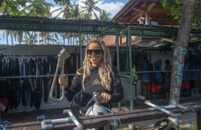 "Photo of ""E"" with Penida Dive Resort holding the Subway Handle on Nusa Penida Island, Bali, Indonesia. We went diving at Manta Point and Labyrinth."