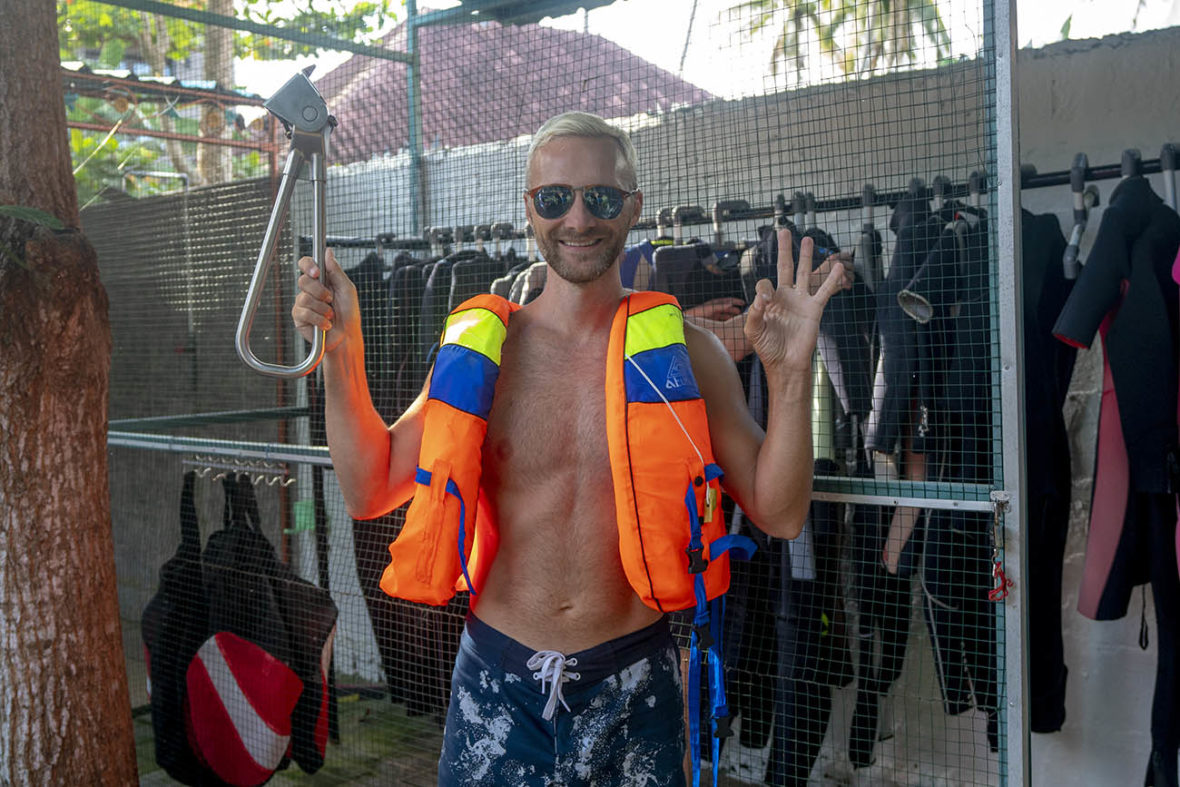 Photo of Dan with Penida Dive Resort holding the Subway Handle on Nusa Penida Island, Bali, Indonesia. We went diving at Manta Point and Labyrinth.