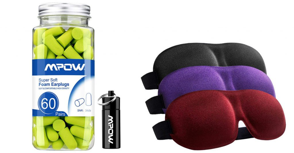 Ear plugs (left) and eye masks (right)