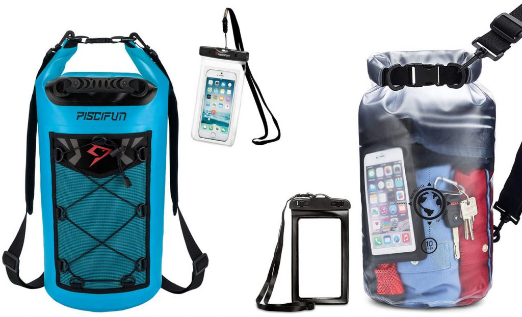 Waterproof bag for electronics (left) and everything else (right)