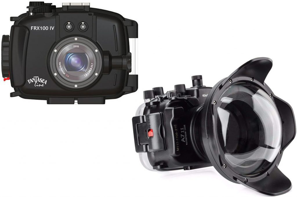 Fantasea Line FRX100 IV Underwater Housing for Sony Cyber-Shot RX100 IV (left image); Meikon Underwater Camera Housing Case with Dome Port Kit for Sony A7R II (right image)