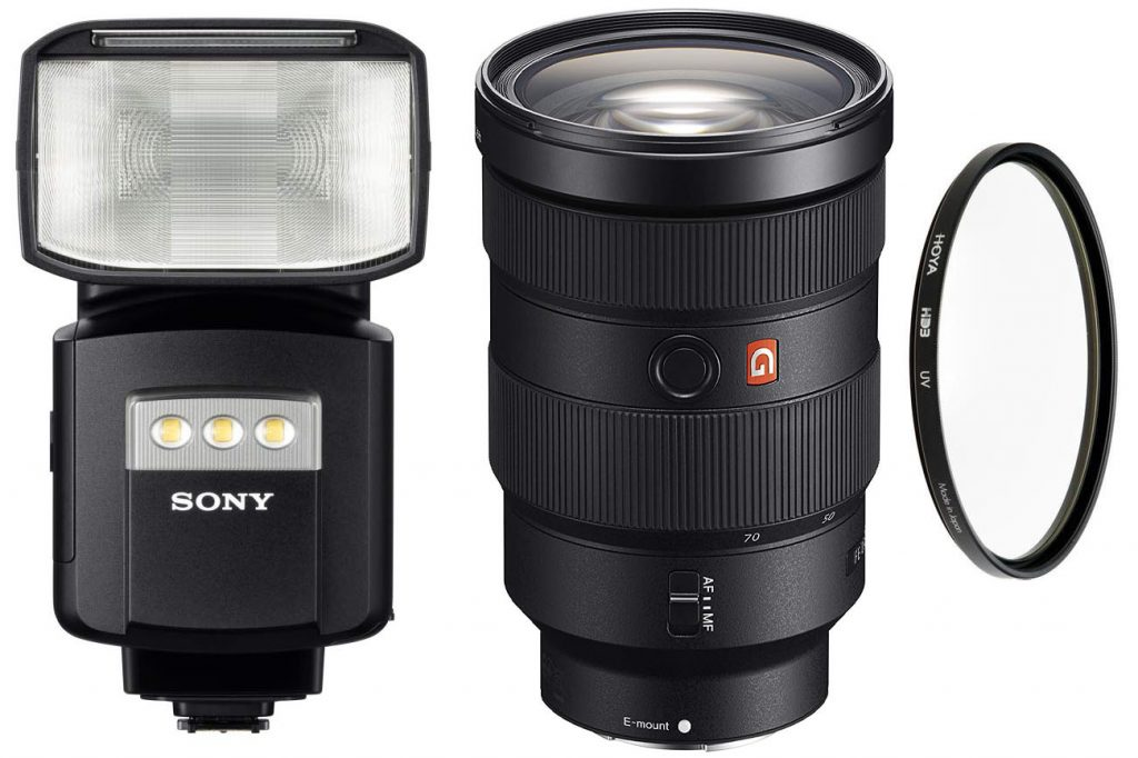Sony Flash HVLF60RM (left), Sony G-Master 24-70 mm f/2.8 lens (center) and Hoya HD3 Professional UV Filter 82mm (right)