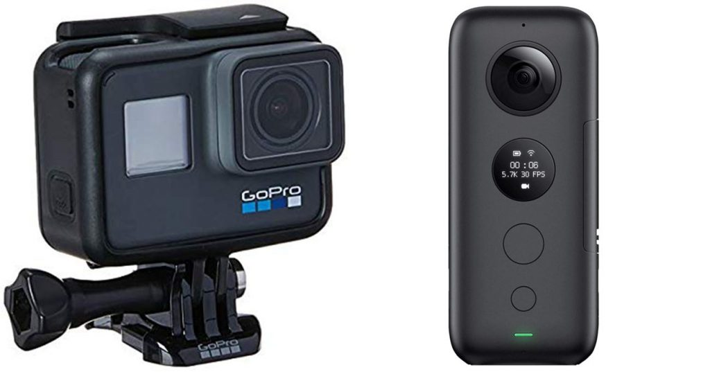 GoPro HERO6 Black Digital Action Camera (left) and Insta360 ONE X Action Camera (right)