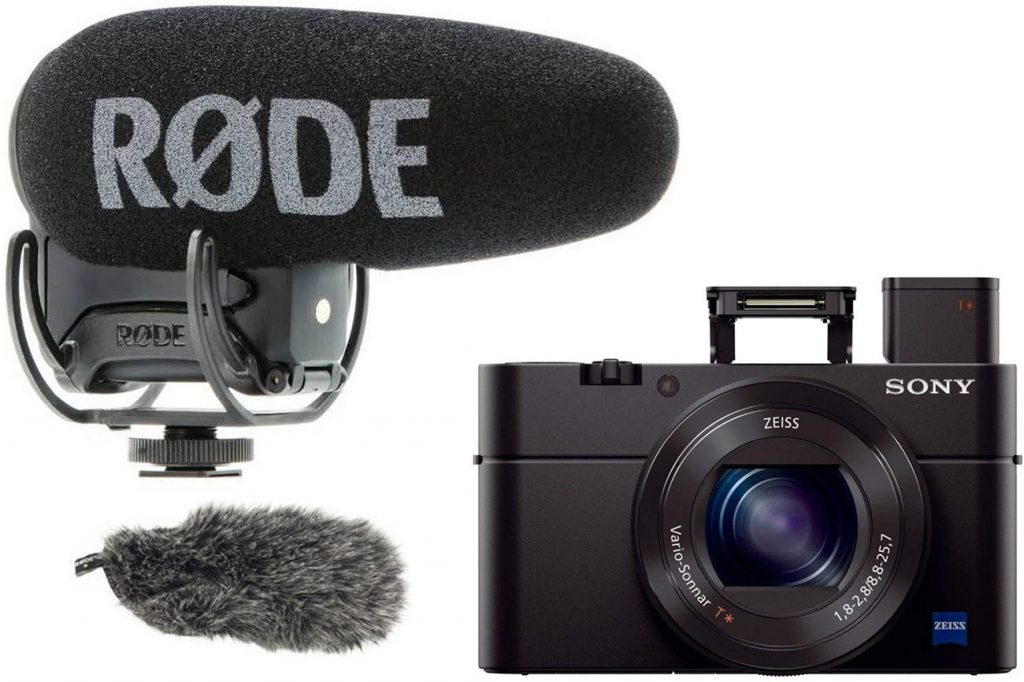Rode VMPR VideoMic Pro R with Rycote Lyre Shockmount With Rode DeadCat (left) and Sony RX100 III Compact Digital Camera (right)